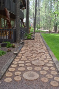 Log walkway rental cabin